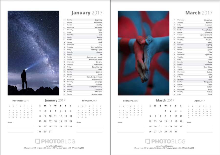 Kostenloser Fotokalender mit Fotoideen 2017