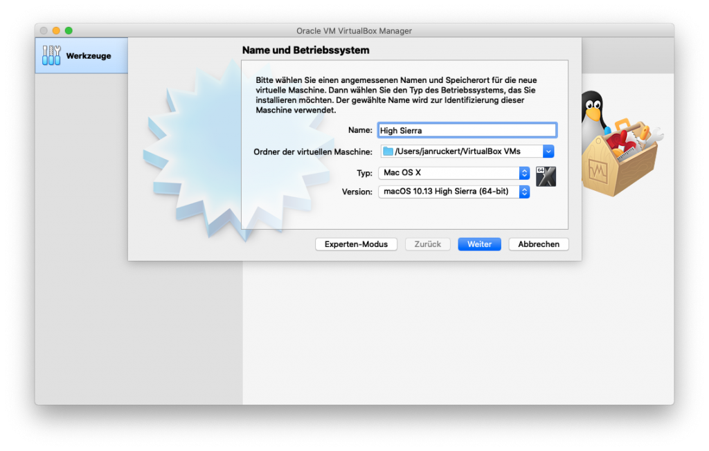 Virtual Box - Neues Betriebssystem anlegen