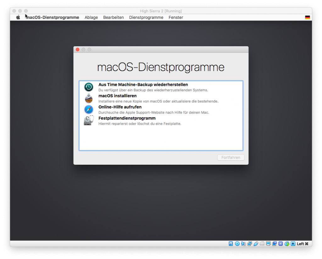 Virtual Box - macOS-Dienstprogramme